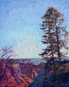 Grand Canyon, north rim oil painting with tree by impressionist artist Erin Hanson
