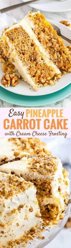 Carrot Pineapple Cake is easy to make from scratch without fancy equipment and tastes even better than traditional carrot cake. This moist carrot cake recipe is perfectly spiced, loaded with fresh carrots and sweet pineapple and layered with a flavorful cream cheese frosting! #carrotcake #pineapple #cakerecipes #fromscratch #creamcheesefrosting