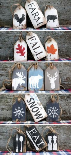 Rustic Wood Tags for all occasions Wood Crafts Christmas Signs, Rustic Christmas, Christmas Projects, Christmas Diy, Christmas Decorations, Christmas Ornaments, Xmas, Christmas Stocking, Christmas Wood Crafts