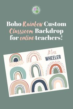 This Boho rainbow background will surely make your kiddos feel happy! This is printed on high quality vinyl with grommets for easy hanging. Online Classroom, Classroom Decor, Classroom Background, Rainbow Background, Vinyl Banners, Feeling Happy, Esl, Backdrops, Place Card Holders