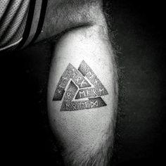 Masculine Guys Rune Dotwork Norse Valknut Leg Tattoo Designs