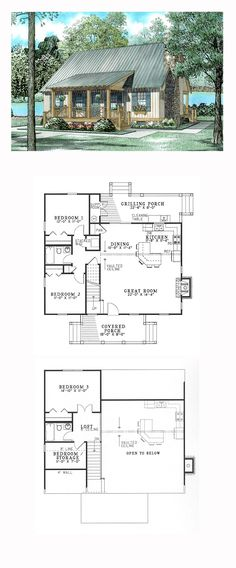 Hillside House Plan 62115 | Total Living Area: 1374 sq. ft., 4 bedrooms and 2 bathrooms. Plan available with walkout basement. #hillsidehome