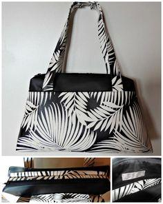 Sac City Zip-Zip, grande taille, cousu par Jadavi Couture - simili noir, simili motif feuilles - patron Sacôtin