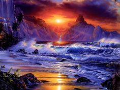Moving Sunset Animation | Free Amazing Fantasy Sunset, computer desktop wallpapers, pictures ...