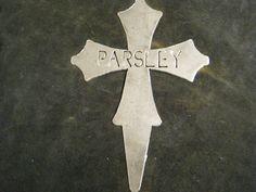 Metal Parsley Cross Garden Stake by RockinBTradingCo on Etsy, $6.00  www.rockinbtrading.com