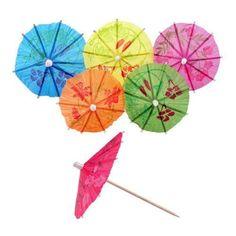 144 Mini Cocktail Fruit Drink Cake Umbrella Parasol Picks Stick Party Club Decor