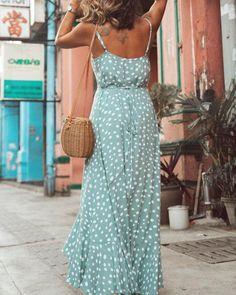 Sexy Maxi Boho V-neck Dot Hot Selling Print Beach Evening Party Dress - ecofashionova Maxis, Boho Outfits, Dress Outfits, Sexy Dresses, Short Dresses, Maxi Robes, Summer Dresses For Women, Dot Dress, Party Dress