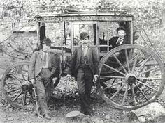 On January 15,1874, the James-Younger gang robbed their first stagecoach in Hot Springs, Arkansas. Present at this robbery was Jesse, Frank, Cole Younger, John Younger, and Bob Younger. No one was hurt and the gang robbed around $3,000 plus valuables. Here is a picture of the stagecoach and men they robbed.