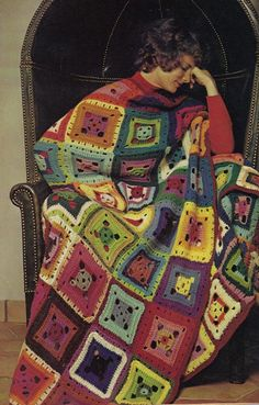 Actual vintage granny square pattern. About 64 ounces knitting worsted in assorted colors (we used 30 colors in all, shades of yellow, blue, green, purple, red, and brown, as well as white and a little black. Use your leftover yarn if desired, purchasing some if necessary to coordinate colors with skeins you may have).  Aluminum crochet hook size G.