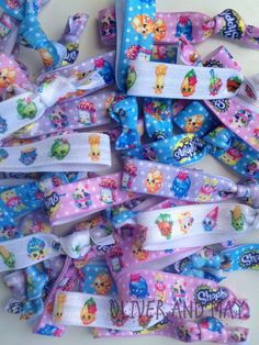 New Colours Exclusive to Oliver & May Shopkins Party Birthday Elastic Hair Ties by OliverandMay on Etsy