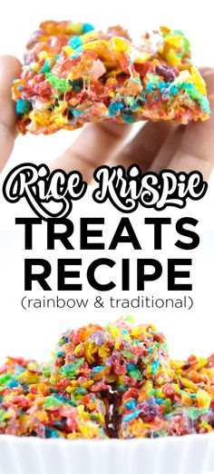 Rice Krispie Treats Recipe. This recipe for rice krispie treats is the best. They are soft and gooey and the perfect consistency for rice krispie treats. This is the best for both rainbow rice krispie treats as well as traditional rice krispie treats.