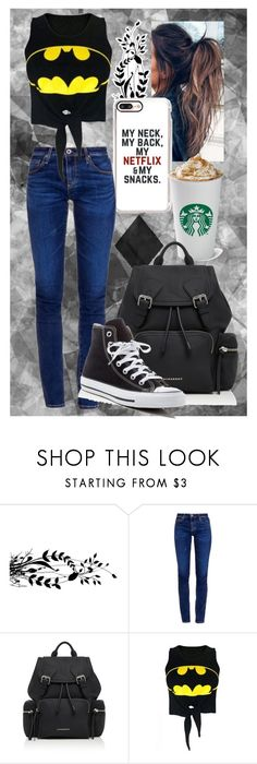 """""""Casual"""" by lakeisha2003 ❤ liked on Polyvore featuring AG Adriano Goldschmied, Burberry, WithChic and Converse"""