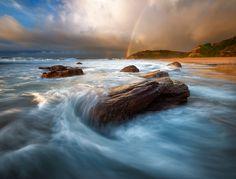 Photo Pristine Dawn by AtomicZen : ) on Turimetta Beach, Sydney Water Element, Natural Phenomena, Ocean Beach, Beautiful Landscapes, Dawn, Nature Photography, Waterfall, Waves, Australia