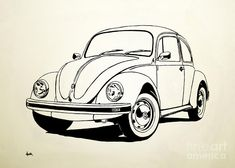 Vw Bug Painting by Aaron Acker