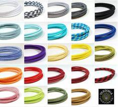 FABRIC LIGHTING CABLE | Italian fabric flex | 3 core | Industrial Vintage | Multiple Colours