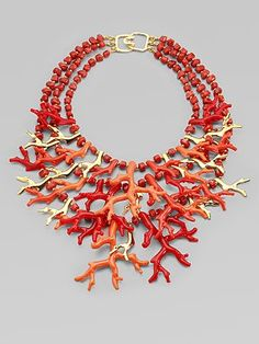 coral 3-tier necklace