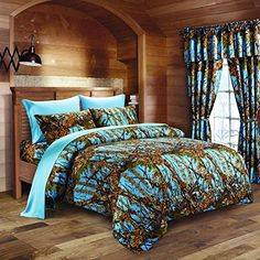#bedding Add a natural or rustic feel to your #bedroom. Camo pattern features leaves, trees, and everything you would find in a forest. Great for any outdoors ma...
