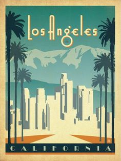 This Los Angeles California Art Deco Wall Decal features vintage style travel poster artwork. Made in the USA. Copyright Anderson Design Group, Inc. Old Poster, Los Angeles Skyline, California Art, California Travel, Vintage California, Valley California, Kunst Poster, Art Deco Posters, Venice Beach