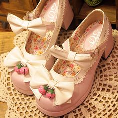 Japanese Lolita Strawberry Bells Bow Strap High-Heeled Shoes