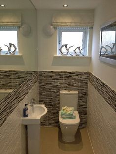 Large mirror in small cloakroom Small Downstairs Toilet, Small Toilet, Downstairs Bathroom, Small Mirrors, Interior And Exterior, Bathtub, Shower, Cloak Room, Future House