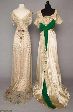 Два шёлковых вечерних платья с вышивкой. США, 1912 г.
