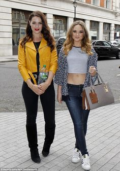 Glamorous duo: Daisy Wood-Davis and Anna Passey ensured they maintained their title as they pulled out all the stops for an appearance on Radio 1 on Thursday