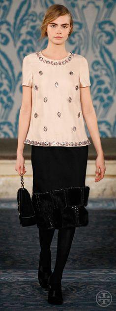 Look 36, Cara: Embellished silk gazar top, Beaded & geometric-hem wool skirt