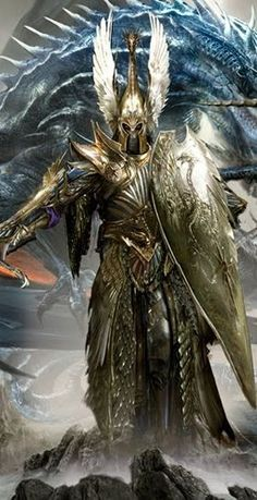 Aenarion // was the first Phoenix King of the High Elves winger armour - gold armour sword and shield Knight or fighter with possible blue dragon in background. Fantasy Warrior, Angel Warrior, Fantasy Battle, Medieval Fantasy, Woman Warrior, Warhammer Fantasy, Warhammer Art, Dark Fantasy, Fantasy World