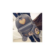 Heart Appliqu  Faux Leather Backpack with Coin Purse (640 MXN) ❤ liked on Polyvore featuring bags, backpacks, accessories, backpacks bags, laptop rucksack, fake leather backpack, faux leather backpack and shoulder strap backpack