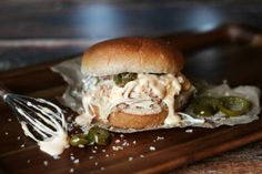 Crock pot pulled chicken jalapeño popper sandwich....shut up this sounds awesome!!