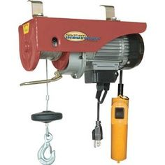 Northern Industrial Electric Hoist - 1100-Lb. Capacity by Northern Industrial. $159.99. Electric hoist has 550-lb. capacity on single line and 1100-lb. capacity on double line with included pulley hook. Hoist comes with 40ft. of cable. Lift Height (ft.): 36 (single), 18 (double), HP: 1 3/4, Dimensions L x W x H (in.): 16 x 6 x 8 1/2, Amps: 8, Single Line Lift Capacity (lbs.): 550, Cable Length (ft.): 39, Cable Diameter (in.): 5/32 in., Double Line Lift Capacity (lbs.): 1,100, Vol...