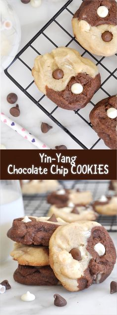 Now you can enjoy two cookies in one with these picture perfect, chocolate and vanilla, chocolate chip yin-yang cookies