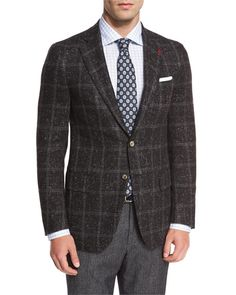 ISAIA DONEGAL WINDOWPANE TWO-BUTTON SPORT COAT, CHARCOAL. #isaia #cloth #