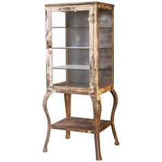 Antique Medical Cabinet with Cabriole Legs, Steel and Glass Apothecary | From a unique collection of antique and modern apothecary cabinets at https://www.1stdibs.com/furniture/storage-case-pieces/apothecary-cabinets/