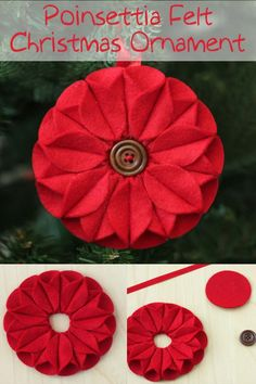 This felt Christmas ornament inspired by poinsettias was a lot of fun to make, and it was really easy too! No sewing required. Felt Christmas Ornaments, Cool Diy Projects, Poinsettia, Creative Inspiration, Diy Crafts, Inspired, Handmade Gifts, Sewing, Holiday Decor