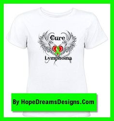 Cure Lymphoma shirts and gifts featuring a cool winged tattoo design with a lime green ribbon by hopedreamsdesigns.com