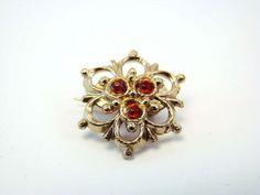 Victorian Ornate Red Rhinestones Gold Tone Pin Brooch Vintage
