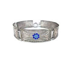 Topazio Bracelet, Portugal Jewelry, Silver 835, Filigree, Blue Enamel, Flowers…