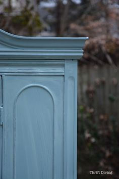 China Cabinet Makeover - First coat of Beyond Paint Nantucket furniture paint on a vintage china cabinet. - Thrift Diving
