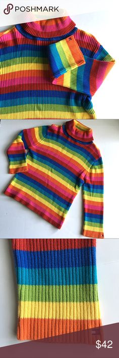 """🌎 Tommy Hilfiger Rainbow Striped Turtleneck /swtr Tommy Hilfiger Rainbow Striped Turtleneck sweater // Sz XL // 100% Cotton // colors are red, pink, orange, yellow, green, blue // Embroidered logo on Sleeve // very little wear // very minor fading or pilling// 20"""" across armpits stretches to 26"""" // 24.25"""" sleeves // 23"""" length // non-smoking home // not my size. Can't model. // Same Day/Next Day Shipping!! // Bundle Discounts // 1p2.1o Tommy Hilfiger Sweaters Cowl & Turtlenecks"""