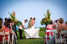 Tropical wedding at Fairmont, Mayakoba. Flower design by Blossom Cancun, photo by Elizabeth Medina