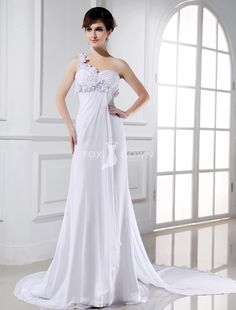 Flower One Shoulder Sweetheart Empire Sheath Chiffon Chapel Train Wedding Dress with Ruched Bodice