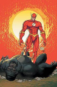 The Flash Barry Allen vs Gorilla Grodd by Michael Turner Michael Turner, Dc Comics Characters, Dc Comics Art, Anime Comics, Comic Book Artists, Comic Artist, Comic Books Art, Flash Barry Allen, Marvel Dc