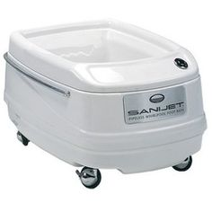 SaniJet Pipeless™ Portable Foot Bath - The SaniJet Pipeless™ Foot Bath is the state-of-the-art in comfort, quality and innovation – providing totally hygienic hydrotherapy. It has two quiet whirlpool jets, locking wheels and a convenient handle. It
