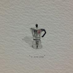 Day 130 : This one's from Heather, to Jandré ♥. 17 x 17 mm. #thelovestorycontinues #365paintingsforants #bialetti #coffee