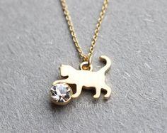 Collar de gato de cristal de Swarovski collar de por Brillants