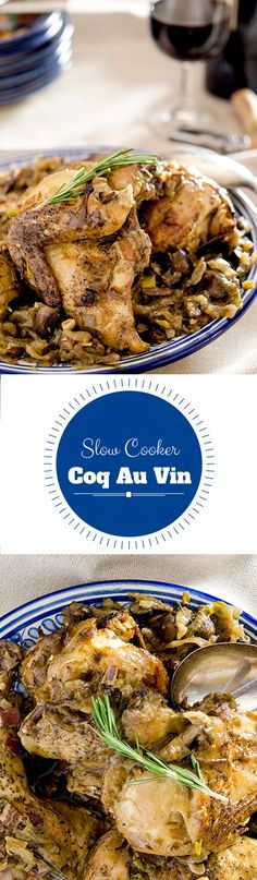 A country style slow cooker coq au vin made with white wine, layers of flavor and soul satisfying goodness.   The secret to delicious, slow cooked Coq au Vin is easy: make it with white wine. A chicken recipe with layers upon layers of flavor.