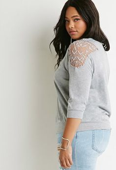 Plus Size Geo Mesh-Paneled Top | Forever 21 PLUS - 2000142008