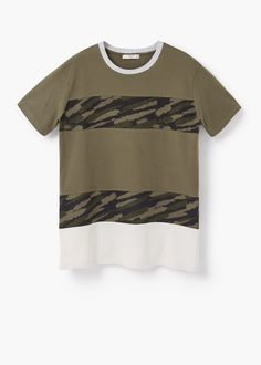 T-shirt riscas camuflagem | MANGO MAN