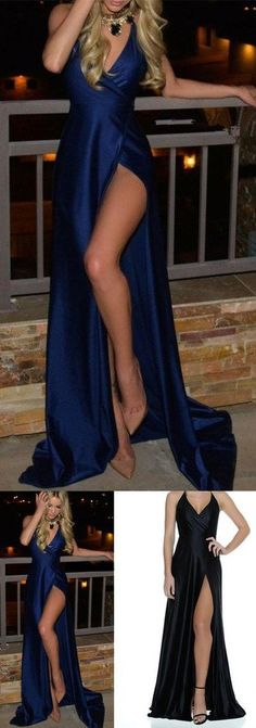 Royal Blue Prom Dresses,Long Prom Dresses,Cheap Prom Dresses,slit Evening Dress Prom Gowns,satin Formal Women Dress For Teens